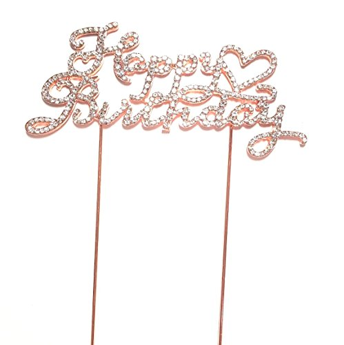 Happy Birthday Cake Topper, Party Favors, Heart Rose Gold with Crystal Clear Rhinestones