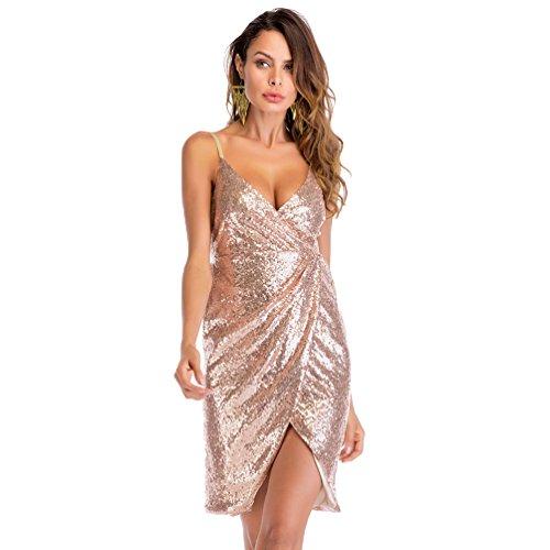 c9ac589628 80%OFF YiLianDaD Vestidos De Fiesta Cortos Mujer Verano Elegantes  Lentejuelas Slim Fit Vestido De