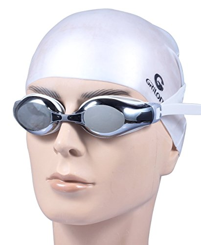 Swimming Goggles Swim Cap, 100% UV Protection Anti-Shatter Anti-Fog Swim Goggles Premium Silicone Long HairCap For Kids Men Women Protection Case, Nose Clip And Ear Plug Include By Augymer (siliver)