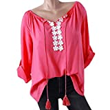 Farjing Women V-Neck Blouse Long Sleeves Floral Lace Splicing T-shirt Tops Blouse(3XL,Hot Pink)