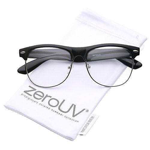 zeroUV - Classic Horn Rimmed Clear Lens Half Frame Glasses 56mm (Black-Silver / - Frame Glasses Half Clear