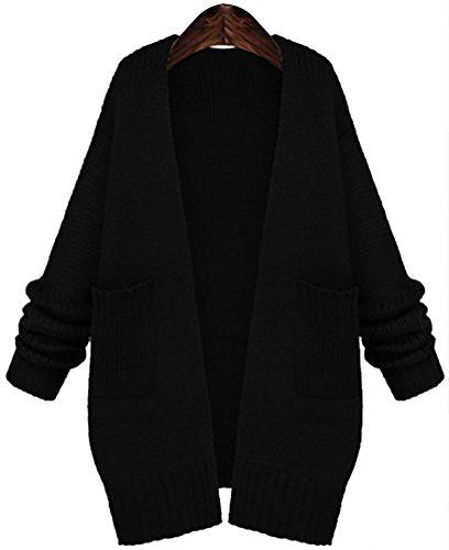 QZUnique Women's Plus-Size Open-Collar Sweater Coat Black 2XL (Fashion Bug Plus Size)