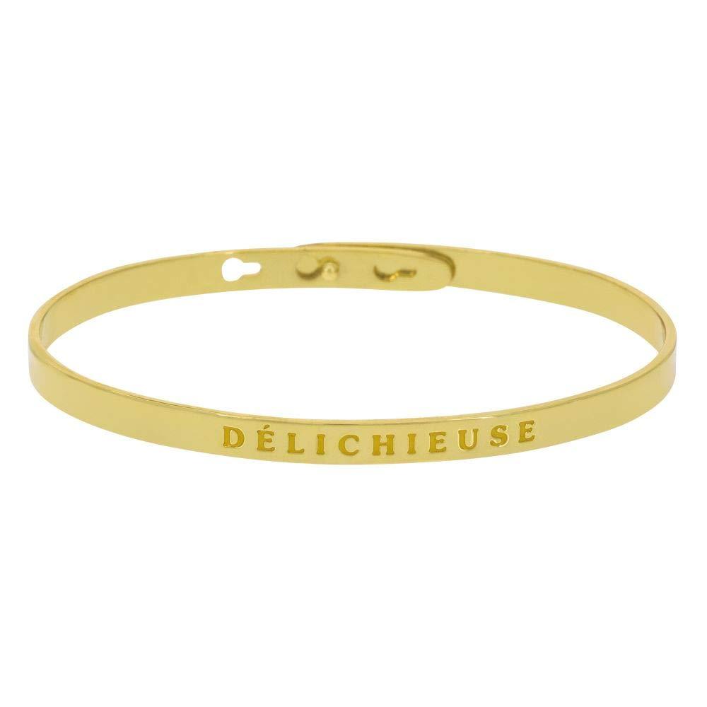Mes-bijoux.fr DÉLICHIEUSE Jonc doré Bracelet à Message