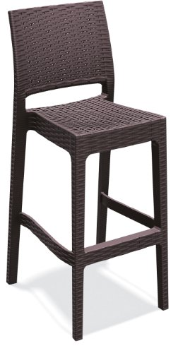 ATC Florida Resin All-Weather Wicker Stackable Ergonomic Barstool, Expresso (Pack of (100 Bar Stools)