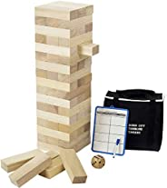 Giant Tumbling Timber (Stacks up to 4 Feet), Gentle Monster Large Size Wooden Timber Tower, Classic Outdoor Ga