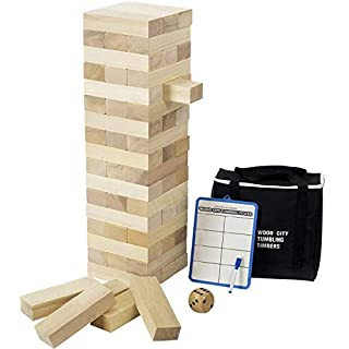 Giant Tumble Tower (Stacks to 4 Feet), Gentle Monster Large Size Wooden Timber Tower, Classic Outdoor Games for Adult Kids Family, Jumbo Blocks Lawn Games 56 Pcs with Dice & Rules