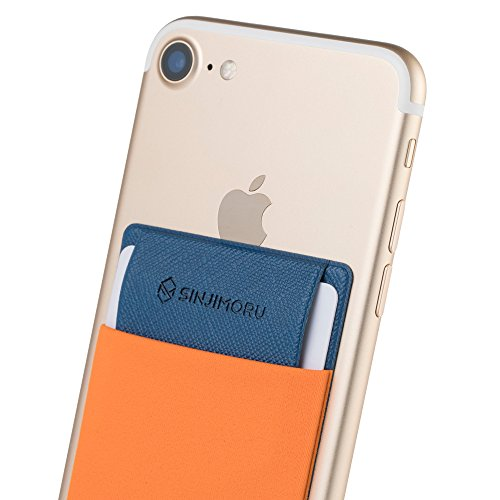 (SINJIMORU Credit Card Holder for Back of Phone, Stick on Wallet functioning as Phone Card Holder, Phone Card Wallet, iPhone Card Holder/Credit Card Case for Cell Phone. Sinji Pouch Flap, Orange)