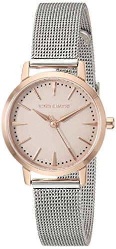 Vince Camuto Women's VC/5347TPRT Rose Gold-Tone Accented Silver-Tone Mesh Bracelet Watch