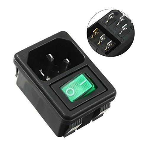 uxcell IEC320 C14 Inlet Socket w AC 250V 10A Rocker Switch Green - C14 Green