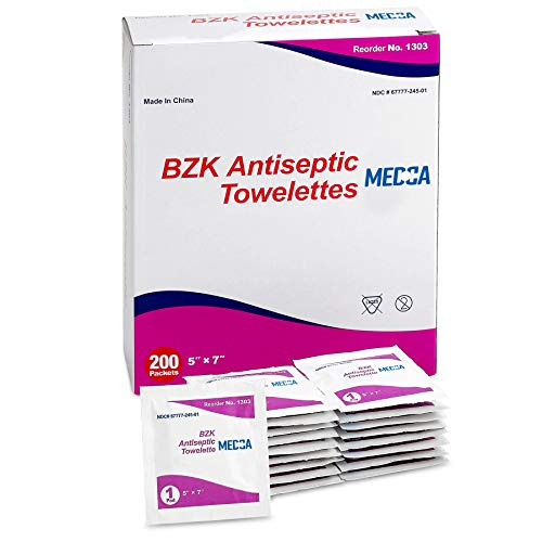 Antiseptic Wipes - (Pack of 200) Antibacterial Hand Sanitizer Wipes and Benzalkonium Chloride Swabs Individual BZK Single-Use Packets Clinically Proven, Kills Bacteria and Germs by MEDca