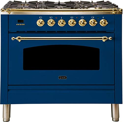 Ilve UPN90FDMPBLLP Nostalgie Series 36 Inch Dual Fuel Convection Freestanding Range, 5 Sealed Brass Burners, 3.55 cu.ft. Total Oven Capacity in Blue, Brass Trim (Liquid Propane)