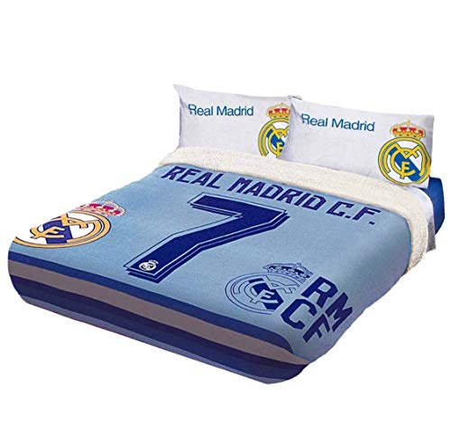 CRISTIANO RONALDO CR7 REAL MADRID C.F. ORIGINAL LICENSED FUZZY FLEECE BLANKET 4 PCS TWIN SIZE by JORGE'S HOME FASHION