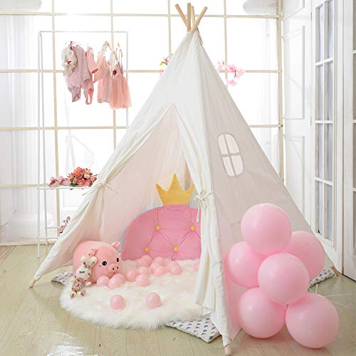 Wilwolfer Teepee Tent for Kids Foldable Children Play Tent for Girl and Boy with Carry Case 4 Poles White Canvas Playhouse Toy for Indoor and Outdoor Games (White) -