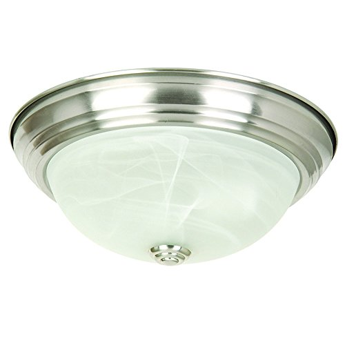 Home Interior Decor - Yosemite Home Decor JK101-11SN 2-Light Flush Mount with Marble Glass Shade, Satin Nickel, 11-Inch