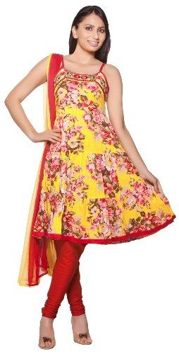 Trishaa Womens Indian Ethnic Kurta Tunic with Churidar & Dupatta Set Yellow X-Large