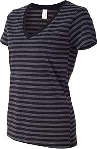 Anvil 8823 Ladies Lightweight Striped V-Neck Tee - Black & Black Heather, Small