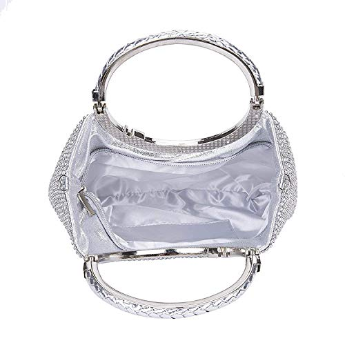 Silver Evening KNUS Wedding with Womens Rhinestone Purse Crystal Clutch Frame Bags Bow qttAfPW1xw