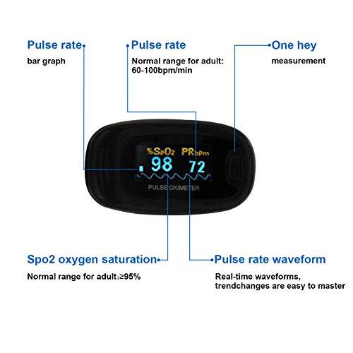 CONTEC Black CMS50NA Fingertip Pulse Oximeter SPO2 Pulse Rate Blood Oxgen Meter OLED