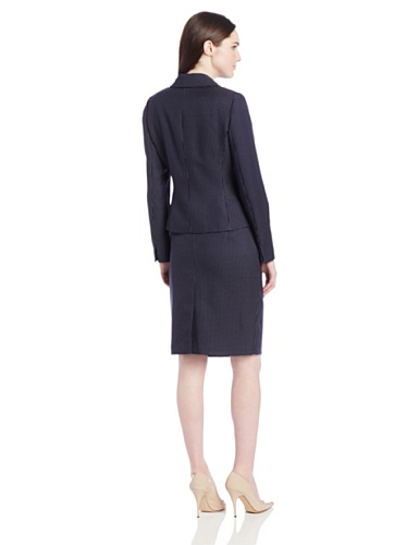 Le Suit Women's 3 Button Notch Collar Pindot Jacket and Skirt Suit Set, Navy/White, 10
