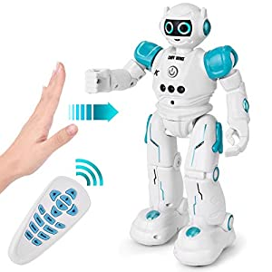 ROOYA BABY Remote Control Robot, Gesture Sensor & Touch Response Kids RC Robot Toys Walking, Sliding, Turning, Singing, Dancing, Speaking, Programming Robot (Robot SkyBlue)