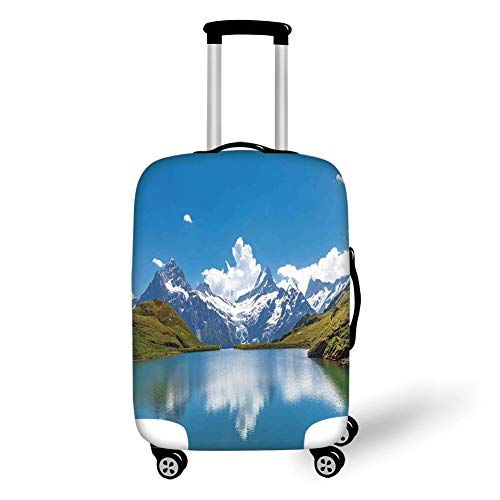 Travel Luggage Cover Suitcase Protector,Lake House Decor,Dreamy View of Alpine Lake with Snow Frozen Peaks Swiss Northern Explore Photo,Blue Green White,for TravelXL 29.9x39.7Inch