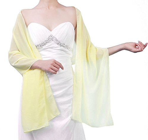 Mewer Sheer Soft Chiffon Bridal Women's Shawl For Special Occasions Yellow ()