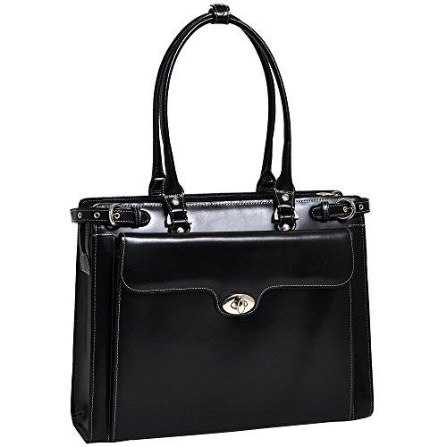 Women's Laptop Tote, Leather, Small, Black - WINNETKA | McKlein - 94835