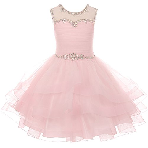 0902fc63365eb CrunchyCucumber Big Girls Layered Organza Rhinestones Dresses with Illusion  Neckline and Corset Back Pink - Size 16