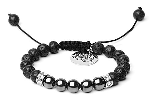 Bella.Vida Mens Womens Bracelet 8mm Natural Lava Stones Black Obsidian and Hematite Bead Therapy Adjustable Braided Bracelet with Lotus Charm