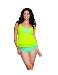 Dreamgirl Women's Plus-Size Queen Size Sexy Sheer Stretch Mesh Camisole