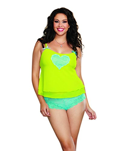 Dreamgirl Women's Plus-Size Sheer Stretch Mesh Camisole, Lime/Turquoise, 3-4X (Stretch Mesh Cami Set)