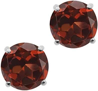 0.74 Ct Round 4mm Red Garnet 925 Sterling Silver Stud Earrings