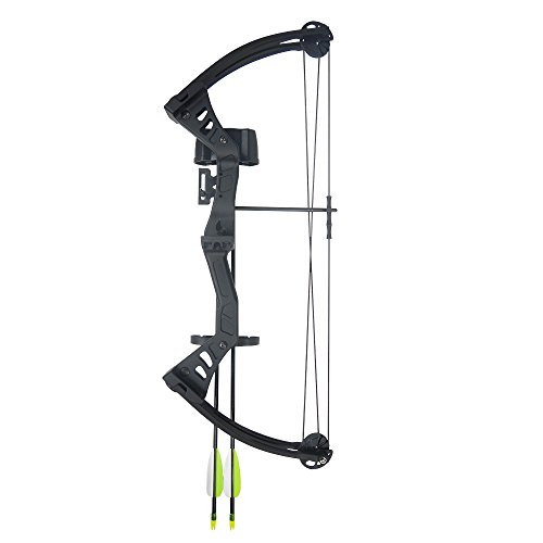 iGlow 19-25 lb Black Archery Hunting Compound Bow +Quiver +Armguard +2 24' Arrows / Bolts 75 70 55 40 30 lbs Crossbow