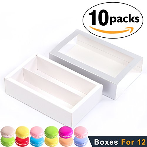 Macaron Boxes for 12 Macarons (Pack of 10) BAKIPACK SILVER Macaron Boxes Macarons Box with Clear Window (without Macaron inside)