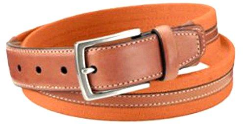 Dockers Mens Canvas Cloth Fabric Belt Leather Trim Sz 40 Varsity Orange