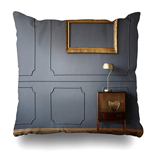 Ahawoso Throw Pillow Cover Square 16x16 Mock Gray Vintage Wooden Cabinet Empty Golden Dark Lamp Room Desk Wall Design Frame Zippered Cushion Case Home Decor Pillowcase