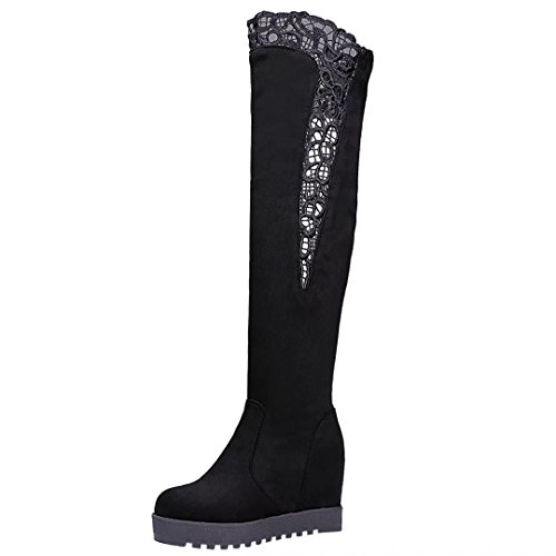 the Wedges Round Hight Over Long Women's AIYOUMEI Winter Platform Black Knee Autumn Toe Increasing Boots fwvwYUZq