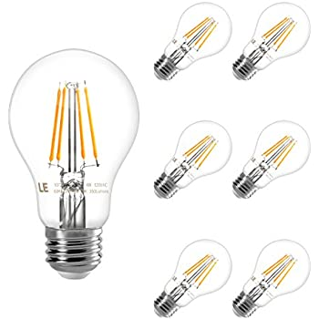Amazon le 6 pack dimmable edison led bulbs 4w vintage led le 6 pack dimmable edison a19 led bulbs 4w vintage led squirrel cage filament light aloadofball Choice Image