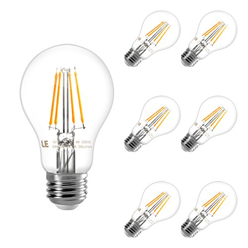 LE A19 E26 Vintage LED Edison Bulbs, Dimmable, Squirrel Cage Filament, 40W Equivalent, 4W 350 Lumens, 2700K Warm White, 300° Beam Wide Angle, for Home and Commercial Lighting and More, Pack of 6