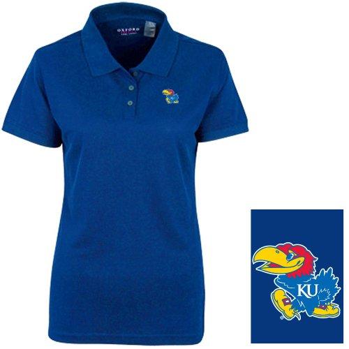 University Classic Pique Polo Shirt - NCAA Kansas Jayhawks Women's Solid Pique Short Sleeve Polo Shirt, Ultramarine, X-Large