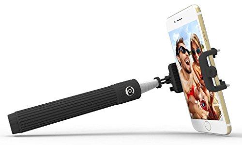 Motorola Moto Z Force Droid Black Cell-Stuff Extendable Wireless Self Portrait Selfie Stick Stick Handheld Monopod for Smartphones with Shutter Button