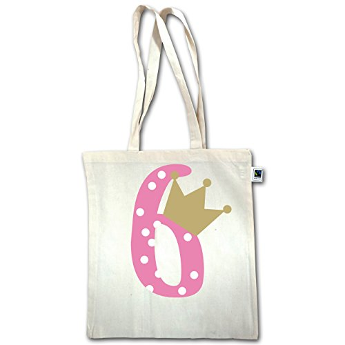 Compleanno Bambino - 6th Birthday Crown Girl - Unisize - Natural - Xt600 - Manico Lungo In Juta Bag