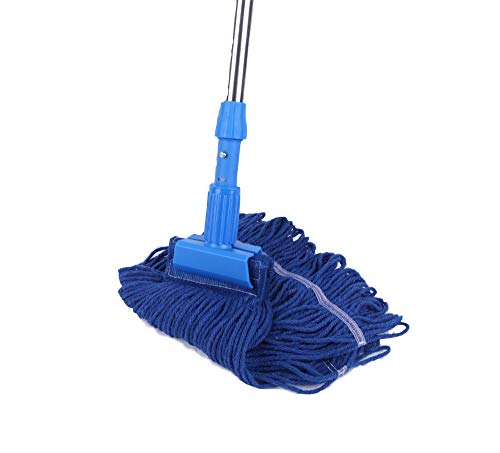 - Cotton Yarn Mop Set Commercial-Grade Heavy Duty String Mop 24 oz Head with Stainless Steel Extension Handle(Blue)