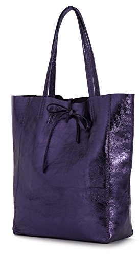 Shopper Italian Soft Purple Hobo Shoulder Leightweight Genuine Large Astrid Handbag Tote Leather LiaTalia Metallic q8xEg5nCf