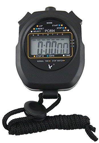 Lcd Resist - CaLeQi Digital Professional Handheld LCD Chronograph Sports Stopwatch,One-Row 2 Memories Lap Counter Running Timer.