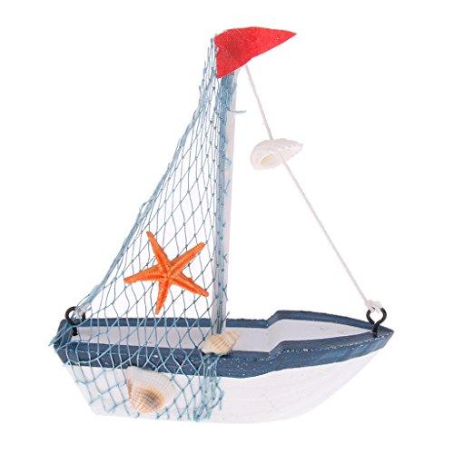 Mini Sailboat (Homyl Mini Handmade Wood Rudder Sailboat Ship Replica Home Table Showcase Decor - #3)