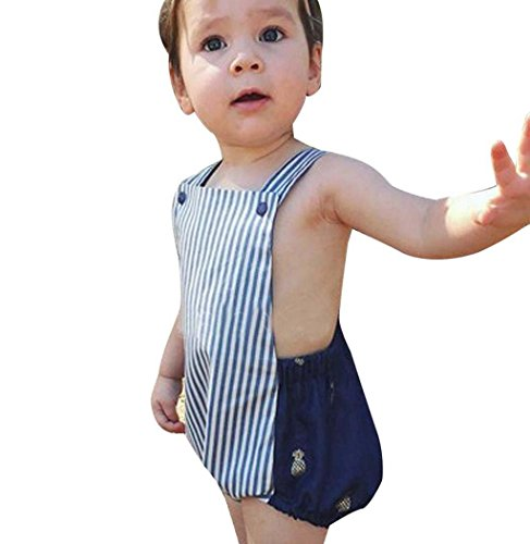 Sagton Kids Toddler Baby Girls Boys Stripe Romper Jumpsuit Sunsuit Clothes