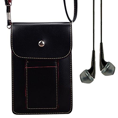 Vangoddy Earphone + Universal PU Leather Mini Slim Wallet Purse Case Crossbody Shoulder Bag for Samsung Galaxy S8+ / S8 / J7 V / C5 C7 Pro / J3 Emerge / Xcover 4 / A5 A7 2017 / Amp Prime 2 (Black)