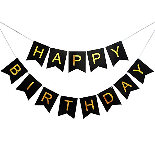 - Happy Birthday Banner - Swallowtail Bunt Birthday Party Decorations - Gold Foiled Letters in black