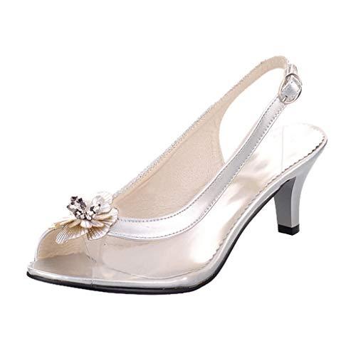 Women's Flower Sandals Belt Buckle Stiletto Shoes Transparent High Heel Sandals 2019 New Ladies Summer Sandals Sliver